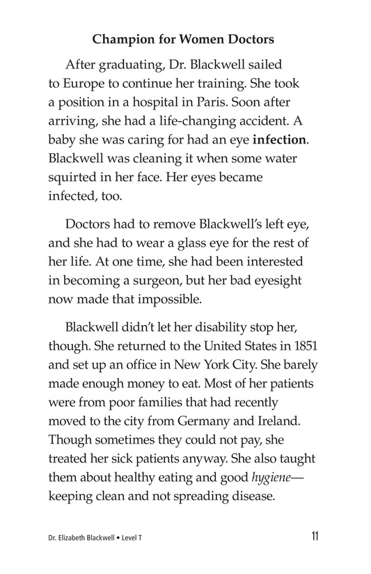 Book Preview For Elizabeth Blackwell: America's First Woman Doctor Page 11